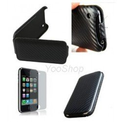 Etui Housse Coque Case Carbone Iphone 3G 3GS + film