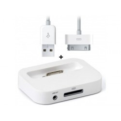 Station d'accueil Blanc Charge & Synchro + câble USB Iphone 4 4S 3G 3GS Touch 3 4