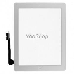 Vitre glass tactile pour Ipad 4 Blanc avec outil et film transparent