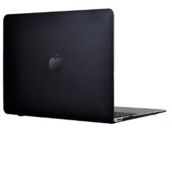 "Coque rigide Macbook rétina 12"" A1534 noir mat transparent toucher velours"