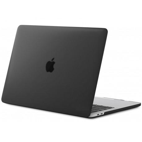 Coque rigide Macbook pro 15 A1707 2016 2017 noir mat transparent toucher soyeux