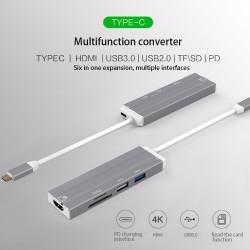 Adaptateur USB-C avec Hub USB 3.0 USB-C et HDMI 4K, lecteur de carte SD/micro SD